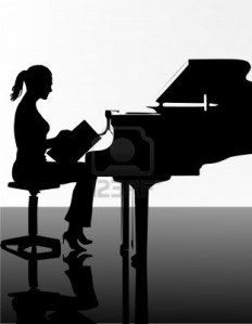 a girl on the piano