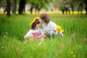 two little kids kissing